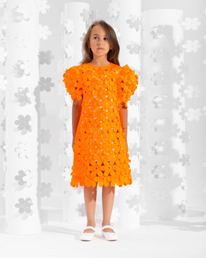 Laser-cut puff sleeve dress decorated with floral appliques