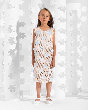 Sleeveless laser-cut dress trimmed with contrasting floral appliques