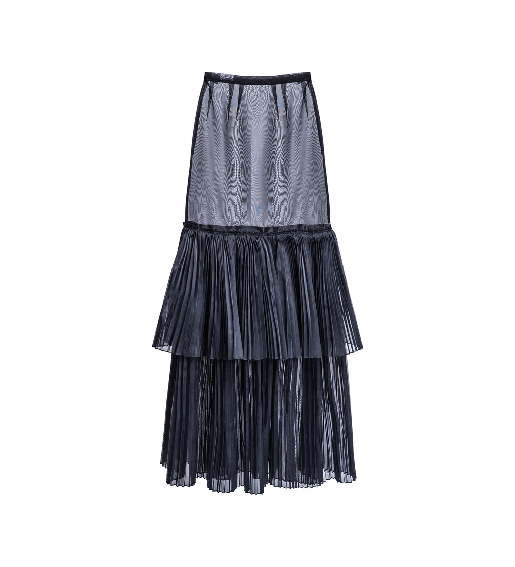 Sheer Tiered Pleated Skirt