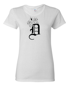 Women's White with Black Logo Crown D T-Shirt