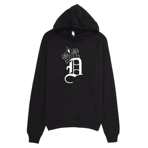 Black with White Crowned D Hoodie