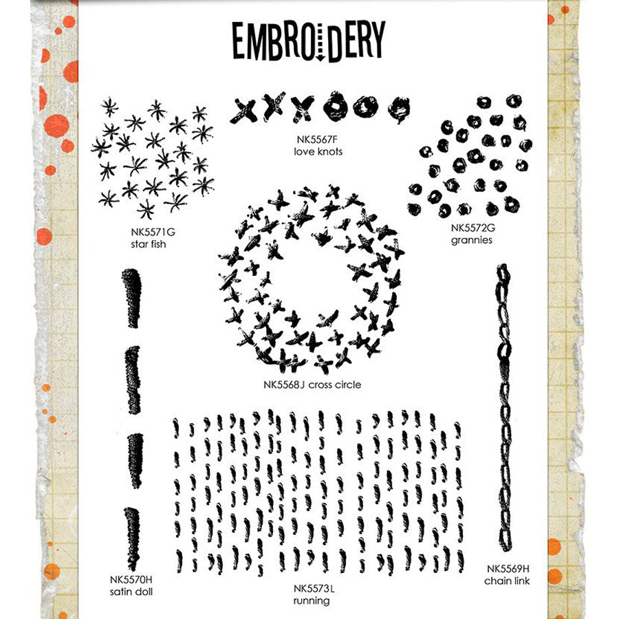 Nathalie Kalbach: Mixed Media Embroidery Stamp Set
