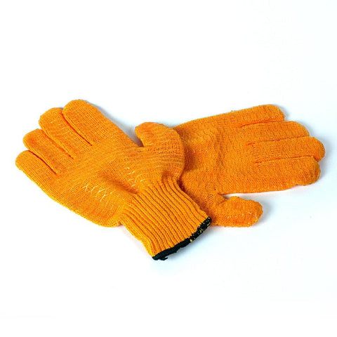 orange fishing gloves large
