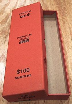 Orange Box for bank rolled Quarters