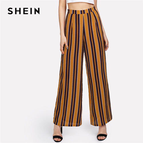 972f48f770 SHEIN Zip Up Wide Leg Striped Pants Women Fashion New Clothing Mid Waist  Loose Trousers 2018