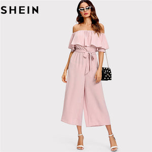 5bb5ccf7ae SHEIN Pink Off The Shoulder Flounce Belted Summer Women Jumpsuit 2018 Office  Lady Work Solid Mid Waist Self Tie Culotte Jumpsuit