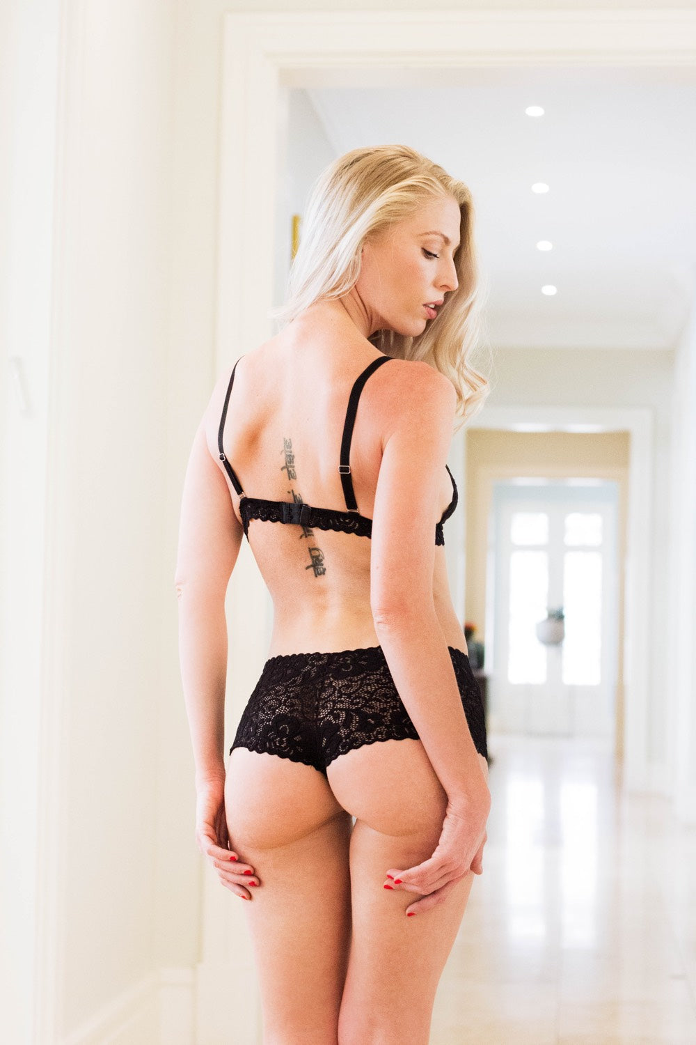 Black Dentelle Lace Brazillian Knickers