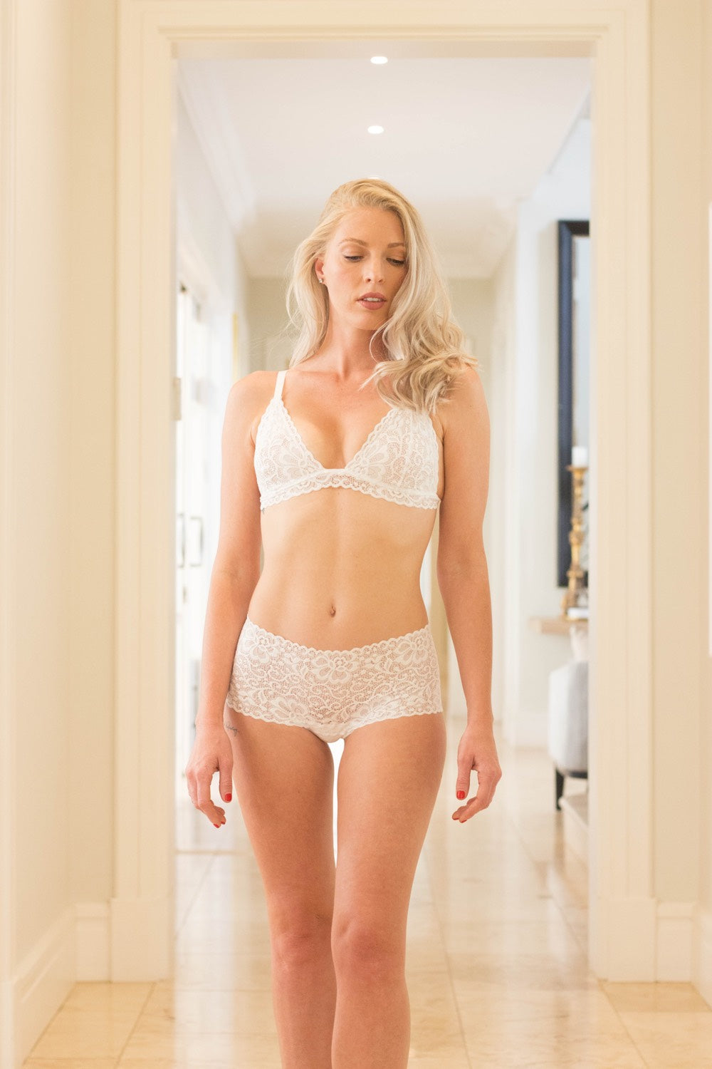 White Dentelle Lace Brazillian Knickers