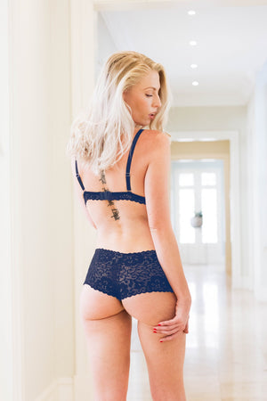 Navy Noir Dentelle Lace Brazillian Knickers