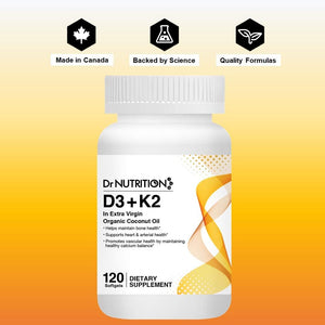 Dr Nutrition 360 - D3 + K2 in Extra Virgin Organic Coconut Oil - 120 Softgels