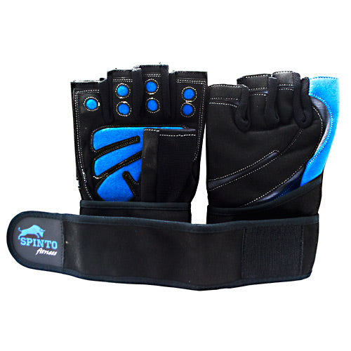 Spinto USA, LLC Men's Workout Glove w/ Wrist Wraps Blue/Gray (LG)
