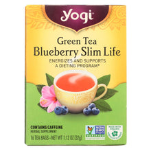 Load image into Gallery viewer, Yogi Green Slim Life Herbal Tea Blueberry - 16 Tea Bags - Case Of 6