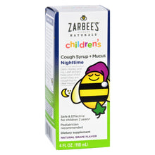 Load image into Gallery viewer, Zarbee's All Natural Children's Nightime Cough Syrup - Grape - 4 Oz