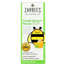 Load image into Gallery viewer, Zarbee's Naturals Children's Mucus Relief + Cough Syrup - Grape - 4 Oz
