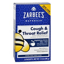 Load image into Gallery viewer, Zarbee's Cough And Throat Relief Drink Mix - Nighttime Supplement - 6 Packets