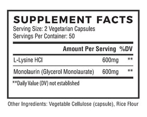 Natural Cure Labs - L-Lysine + Monolaurin - 600mg (1:1 Ratio) - 100 Capsules