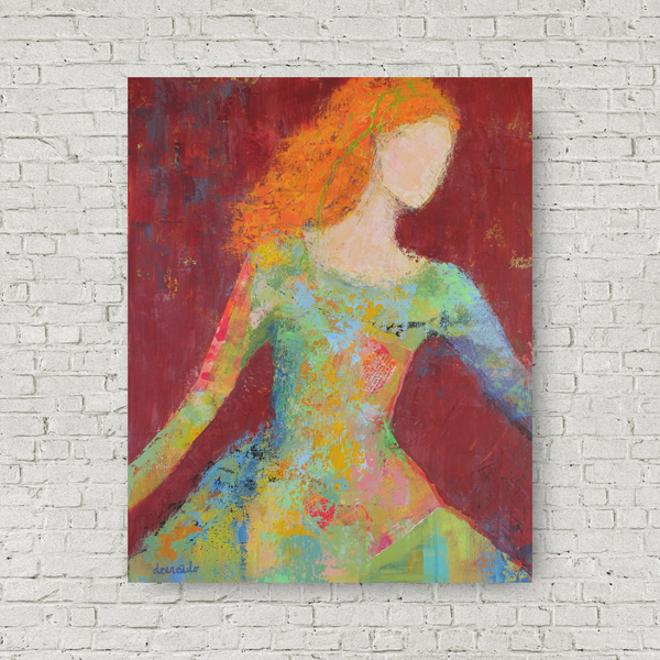 "Young Woman Mixed Media Painting on Gallery Wrapped Canvas 16 x 20 ""Redhead Awakening"""