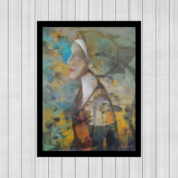"Contemporary portrait of historical female on 12x16 inch canvas ""Renaissance Lady"""