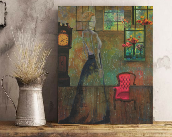 "Ghostly Vintage Figurative Lady Mixed Media Collage on 16x20 canvas ""Remembering Cora"""