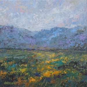 "Impressionistic Landscape Oil and Cold Wax Painting 12x12 on Artist Panel ""Mountain Aesthetic"""