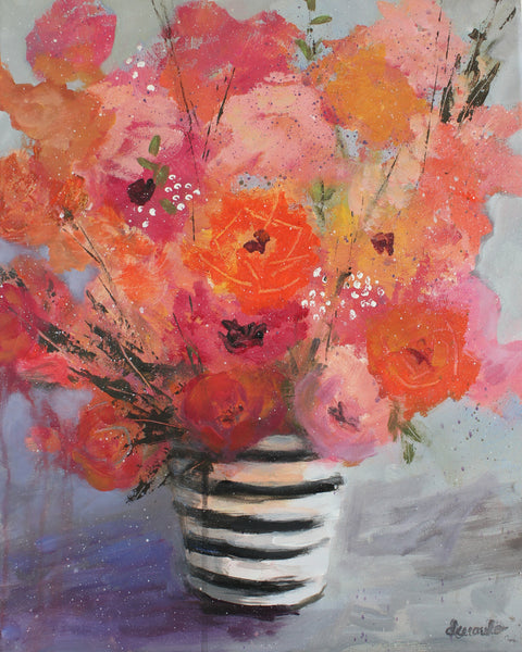 "Abstract Loose Floral with Striped Vase Painting on 16x20 canvas ""Floral Celebration"""