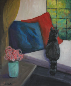 "Cat in window seat Painting Animal Portrait 20x24 inches ""Waiting for Mom"""