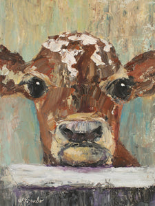 "Calf Cow Close Up Face Palette Knife Painting on 12x16 canvas ""George"""