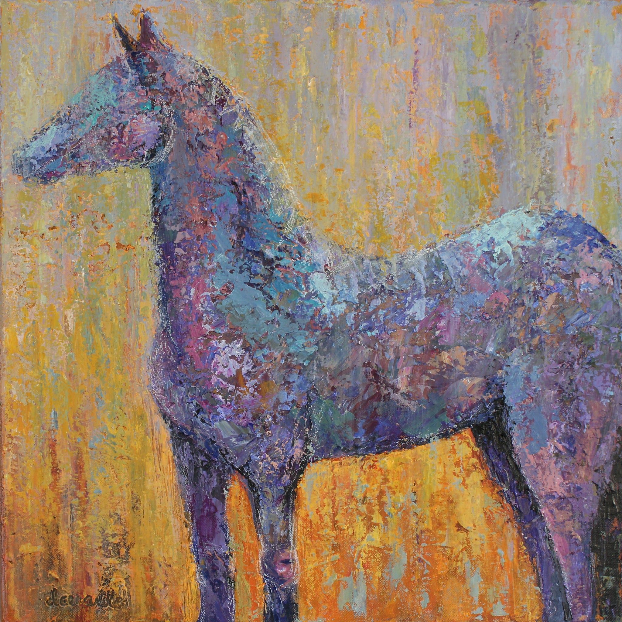 "Palette Knife Horse Painting on 20x20 inch canvas Mixed Media Abstract Stallion ""Dazzling Stallion"""