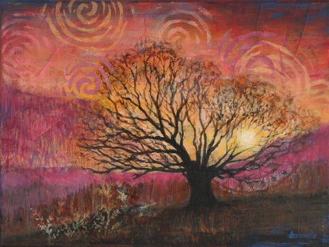 "Landscape tree mixed media painting with collage on 12x16 canvas ""Golden Sunrise"""