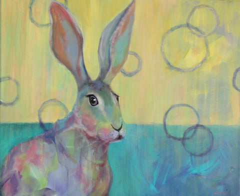 "Animal Art Rabbit with big ears 20x24 inch on Canvas ""Jackrabbit Junot"""