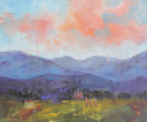 "Contemporary Abstract Landscape Painting on 20x24 canvas ""Mountain Dreams"""