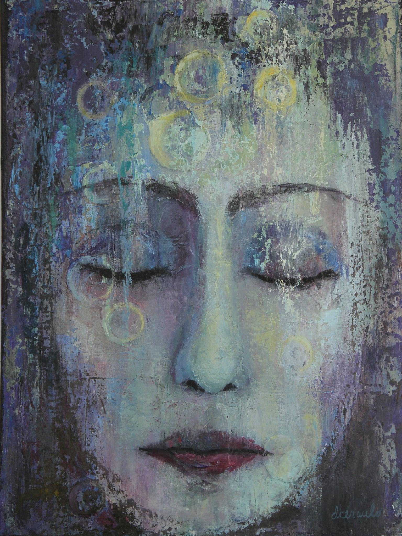 "Abstract Female Portrait on 12x16 canvas palette knife texture ""Dreamless Winter"""