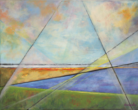"Abstract Landscape Painting 14 x 18 geometric wall art on Canvas ""Perseptive Land"""