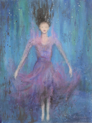 "Female Portrait Ethereal Beauty on 12x16 artist panel ""Submerged"""