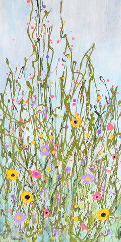 "Wildflower Abstract Narrow Wall Art 10x20 Splatter Texture on Canvas ""Wildflower Dream"""