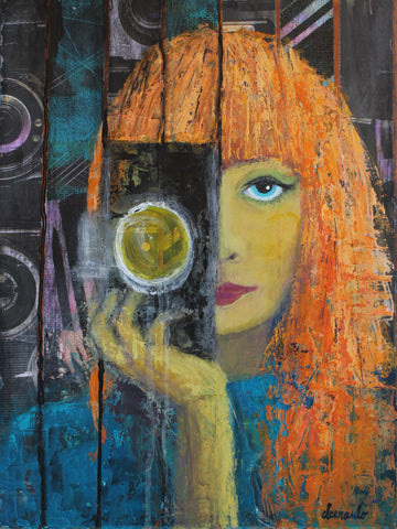 "Contemporary Female Portrait Mixed Media Collage 12x16 canvas ""Focused"""