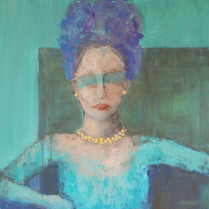 "Contemporary Female Portrait 20x20 on gallery canvas ""Cultivating Anonymity"""