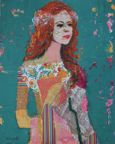 "Redhead Young Woman Contemporary Portrait Collage and Acrylic Figure 11x14 on Mixed Media Paper ""Redhead Believing"""