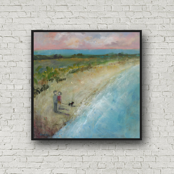 "Landscape with Couple and Dog on Beach 20 x 20 inches on canvas ""A Walk at Dusk"""