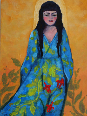 "Boho Female Figurative Portrait 9x12 on Art Panel ""Considering Skylar"""