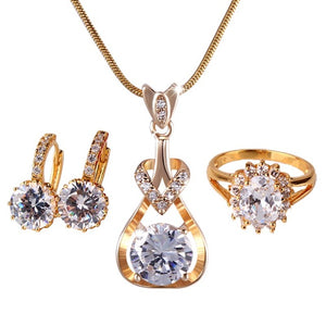 Wedding Jewelry Set | Gold-Color CZ Crystal Earring Pendant Necklace Ring Sets