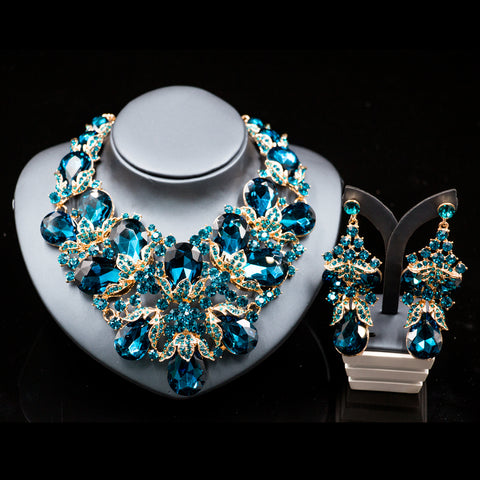 Stunning Fashion Wedding Jewelry | Rhinestone  Austrian Crystal Necklace and Earrings for Weddings - Bring The Jewels