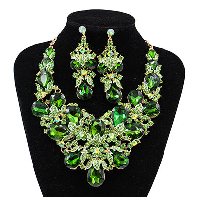 Stunning Fashion Wedding Jewelry | Rhinestone  Austrian Crystal Necklace and Earrings for Weddings