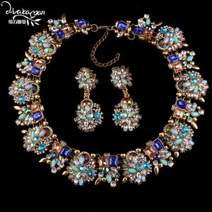 Luxury Crystal Flower Wedding Bridal Jewelry Sets | Statement Accessories