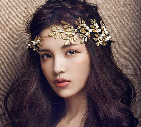 Wedding Party Romantic Gold Metal Leaf Cream Pear Headband | Hair Jewelry Bridal Accessories