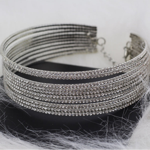Multi-Layer Rhinestone Choker Crystal Statement Necklace - Luxury Chokers Necklaces For Women