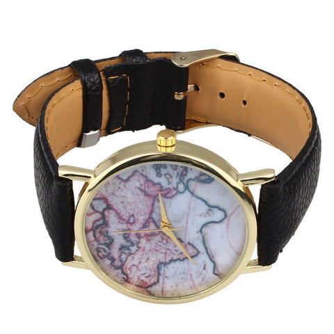 Women's Globe Watches -  Faux Leather and Quartz World Wrist Watch