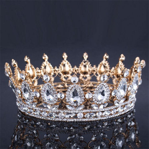 VINTAGE Baroque Queen King Crown | Bridal Wedding Tiara and Crown