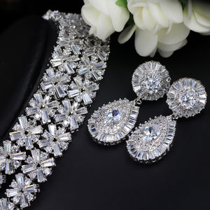 Bridal Jewellery -  Luxurious Cubic Zirconia Necklace Earring Bracelet Jewelry Set - Bring The Jewels