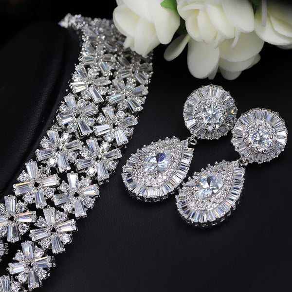 Bridal Jewellery -  Luxurious Cubic Zirconia Necklace Earring Bracelet Jewelry Set